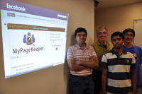 From left, Harsha Madhyastha, an assistant professor of computer science and engineering; Michalis Faloutsos, a professor of computer science and engineering; and Md Sazzadur Rahman and Ting-Kai Huang, both Ph.D. students in computer science