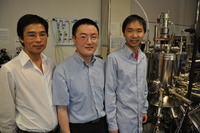 From left, Guoping Wang, a graduate student, Jianlin Liu, a professor of electrical engineering, and Sheng Chu, a graduate student.