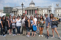 UCR students pose for a photo in front of the National Gallery in London.