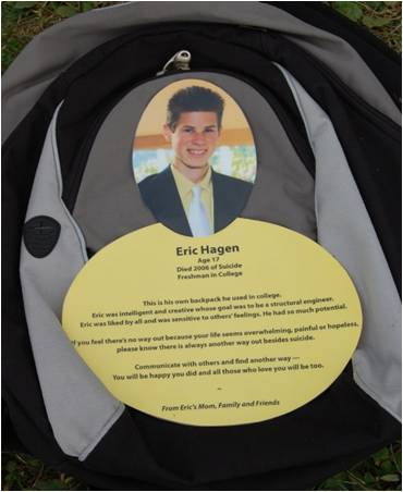 A backpack is dedicated to a young student who took his life when he was 17.