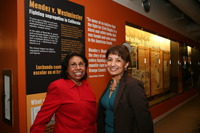 Sylvia Mendez (left) and filmmaker Sandra Robbie at the Museum of Tolerance. (Photo courtesy of Chapman University)