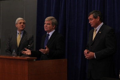 From left, Penn State President Graham Spanier, NCAA President Mark Emmert and UC Riverside Chancellor Timothy P. White at a press conference July 19, 2011 following the conclusion of the NCAA DI presidential retreat. Photo credit - NCAA
