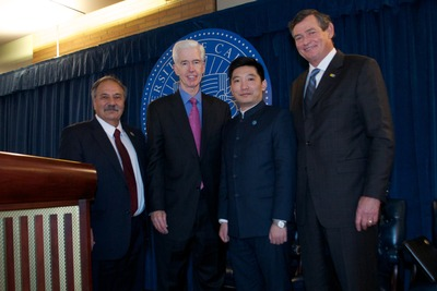 From left, Dean of Bourns College of Engineering Reza Abbaschian; former California Governor Gray Davis; President of Winston Battery Limited Zhifan Zong; and UCR Chancellor Timothy P. White. Photo by Carlos Puma.
