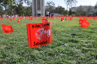 One of the 5,000 flags placed on campus Thursday, Dec. 1 to mark World AIDS Day.