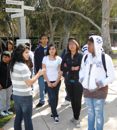 Students in the UC Riverside Educational Talent Search program tour the UC San Diego campus.