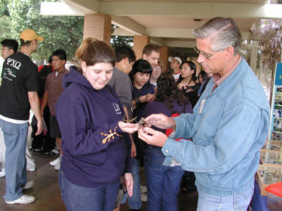 UC Riverside's Prof. Tom Perring shares insects with a student.