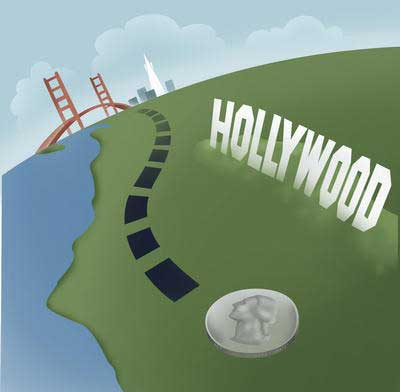 A nanometer is to one inch as one inch is to 400 miles.  Another way to visualize the size: the diameter of a quarter compared to the driving distance between Los Angeles and San Francisco.  One nanometer equals a billionth of a meter.  (Artwork: Brad Rowe.)