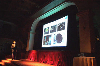 On Feb. 21, 2003, Dr. Robert Haddon spoke to an audience of nearly 300 people at the Mission Inn on the subject of nanotechnology.  (Photo credit: Judy Chappell.)