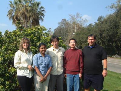 Key players in the UC Riverside Biomedical Science and Naotechnology Lab.  From left to right: Mihri Ozkan, Shalini Prasad, Xuan Zhang, Mo Yang, and Cengiz Ozkan.  (Photo credit: Andre Morgan.)