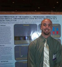 Andrew Olaharski of the environmental toxicology graduate program won the Best Poster award at the Environmental Mutagen Society's 34th annual meeting held in Miami Beach, Fla., last month. (Photo credit: A. Olaharski.)