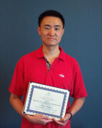 Jing Yuan, a Ph.D. student in the department of mechanical engineering at UC Riverside, has won first place in the Doctoral Student Paper/Poster Competition of the Air & Waste Management Association's 96th Annual Conference & Exhibition.  (Photo credit:  Judy Chappell.)