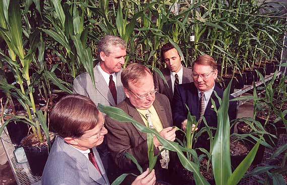 Officials from the University of California, Riverside hosted a tour for visiting DuPont officials on the day it was announced that DuPont had donated a gift of intellectual property in the form of an herbicide to the campus.