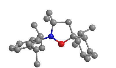 Molecular structure of the cyclic alkyl amino carbene. (Blue - nitrogen; red - carbene carbon; gray - normal carbon.)
