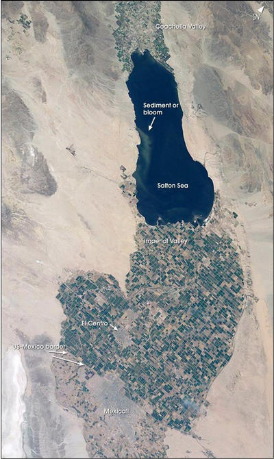 Satellite image of the Salton Sea.