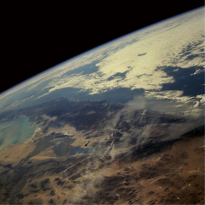 Salton Sea from space.  Arrow points to the sea.