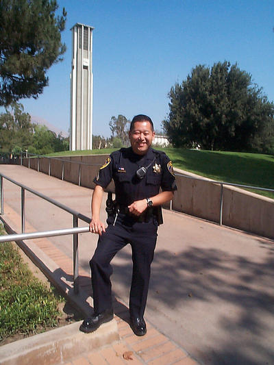 Corporal Wayne Kanemoto, a Japanese American, is a graduate of UCR and has served in the UCR Police Department for many years. He was the first Asian American Sergeant in the UCRPD