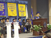 Chancellor Córdova speaks at last year's Convocation