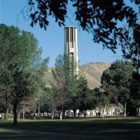 The bell tower is not only a musical instrument, but serves as a clock tower at the center of campus