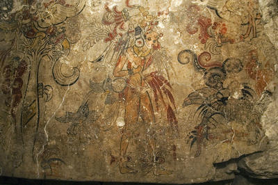 A detail from a sacred Maya mural at San Bartolo — the earliest known Maya painting, depicting the birth of the cosmos and the divine right of a king Photo by Kenneth Garrett � National Geographic