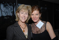 Professor Jan Blacher of UCR's Graduate School of Education and director of SEARCH (left) and actress Rene Russo (right) at a recent fund-raising event in Los Angeles to benefit the new autism resource center. (Photo by Michael Elderman.)