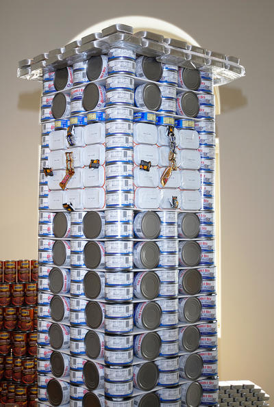 A closeup of the UCR bell tower, made of cans of albacore. Photo by Michael Elderman.