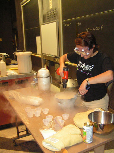 Dr. Maria-Chiara Simani provides her physics expertise in whipping up orange-flavored sorbet.