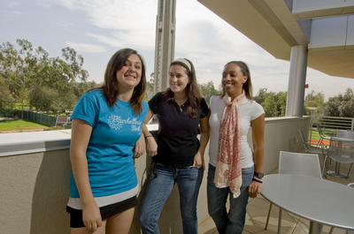 Students and UCR's carillon tower. Photo by Walter Urie