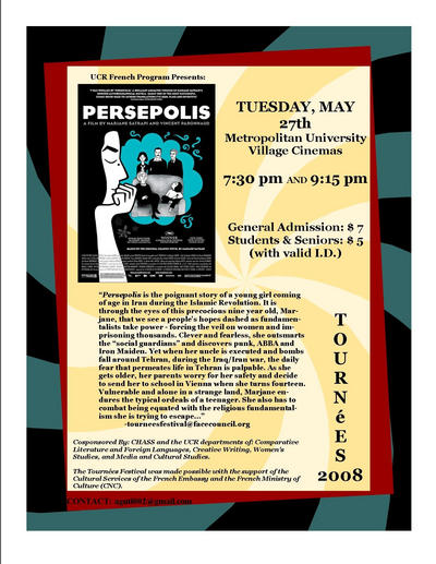Poster for the showing of Persepolis at 7:30 and 9:15 p.m. tonight at the University Village theater.
