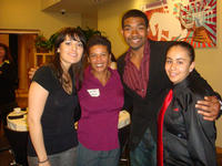 Kyle Brown, third from left, with, from left to right, fellow student Cecilia Robles, UCR Executive Chef Lanette Dickerson, and student Paullette Flores.<br />