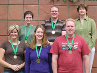 UCR team that won the 2008 Linnaean Games.  Back Row - Rebeccah Waterworth, Casey Butler, Darcy Reed (coach); front Row - Deane Zahn, Jennifer Henke, Jason Mottern.  Photo credit: UCR Department of Entomology.
