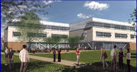 An architect's rendering of the new Student Services Building at UC Riverside