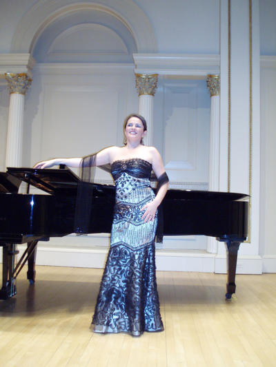 Camelia Voin prepares to sing at Carnegie Hall.