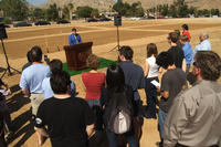 Chancellor Timothy White discusses the importance of the UCR community garden at the groundbreaking ceremony on April 17.