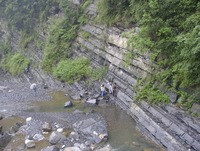 Researchers study exposures of the Doushanto Formation along a creek in the Yangtze Gorges area, South China.  Photo credit: M. Kennedy, UC Riverside. (Additional photos below.)