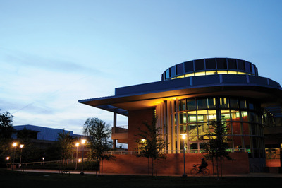 The Highlander Union Building, known as the HUB, at twilight
