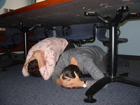 Drop, cover, and hold on is the best course of action during an earthquake.  Photo credit: UCR Strategic Communications.