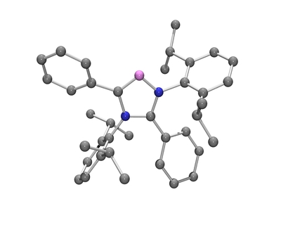 Molecular structure of the C5-Abnormal N-Heterocyclic Carbene (blue: nitrogen atoms; violet: abnormal carbene carbon atom; gray: normal carbon atoms). Image credit: Bertrand lab, UC Riverside.
