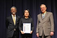 UC Riverside's Chun Ning (Jeanie) Lau receives her PECASE certificate, Jan. 13, 2010.  From left to right: John P. Holdren, director of the Office of Science and Technology Policy; Lau; and Arden Bement, director of the National Science Foundation. Photo credit: Ken Shipp/Department of Energy. Please see below for a group photo taken on Jan. 13, 2010, showing President Barack Obama and the PECASE recipients.