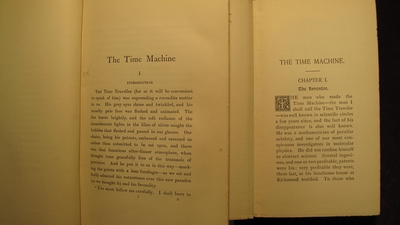 The opening pages of the American and London editions differ significantly. The better-known London version is pictured on the left; the American edition is on the right.