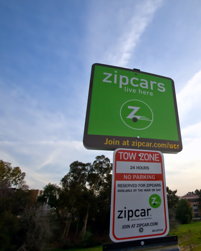 Zipcar reserved parking sign located in lot 15.  <Font size=1>Photo by Steve Brazil</font>
