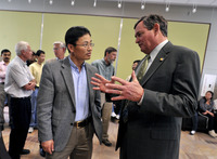 Jian-Kang Zhu and Chancellor Timothy White (right) at a reception held in Zhu's honor at UC Riverside, April 27, 2010. Photo credit: UCR Strategic Communications. (More photos below.)