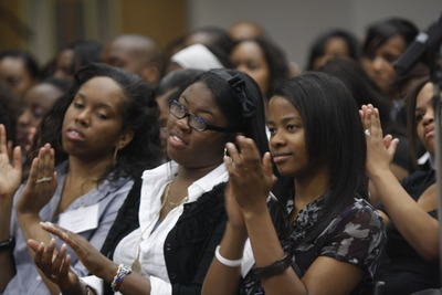 Students listen to speakers at the African Black Coalition conference at UC Riverside. Photo credit: Peter Phun.