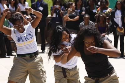 A team from UC Davis dances during a lunchtime talent show. Photo credit: Peter Phun