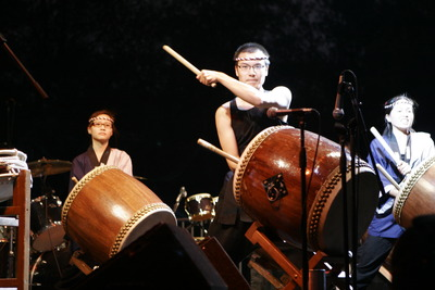 Taiko drummers perform at