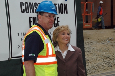 Project Manager on the construction of the Health Sciences Building, Anthony S. Mardirosian, poses with Senator Barbara Boxer. Photo credit: Kathy Barton
