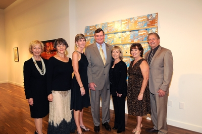 Celebrating the grand opening of the Culver Center of the Arts and the reopening of the Sweeney Art Gallery are, from left: Marilyn Sweeney, Deborah Culver Lawlor, Karen White, UCR Chancellor Timothy P. White, Frances Culver, and Debbie and Donald Brithinee. Sweeney, Lawlor, Culver and the Brithinees are major donors to the center./Photo credit Michael Elderman