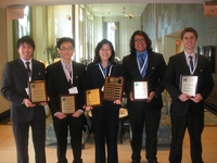 From left to right, Marcus Chiu, Joon-Bok Lee, Kawai Tam, Christian Contreras and Jason Skovgard, display the plaques they received in Washington, D.C. for placing second in a Department of Energy contest.
