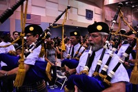 Bagpipes in action at a convocation event on campus