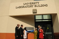 The grand opening of the Neil A. Campbell Science Learning Laboratory took place July 7.  L to R: Thomas O. Baldwin, Timothy P. White, Susan R. Wessler, Rochelle Campbell, Rich Cardullo, and Allison Campbell.  Photo credit: UCR Strategic Communications. (More photos below.)