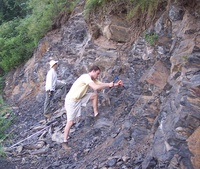 Researchers Chris Reinhard (front) and Noah Planavsky dig into a shale exposure in north China. Photo credit: Chu Research Group, Institute of Geology and Geophysics, Chinese Academy of Sciences. (More photos below.)